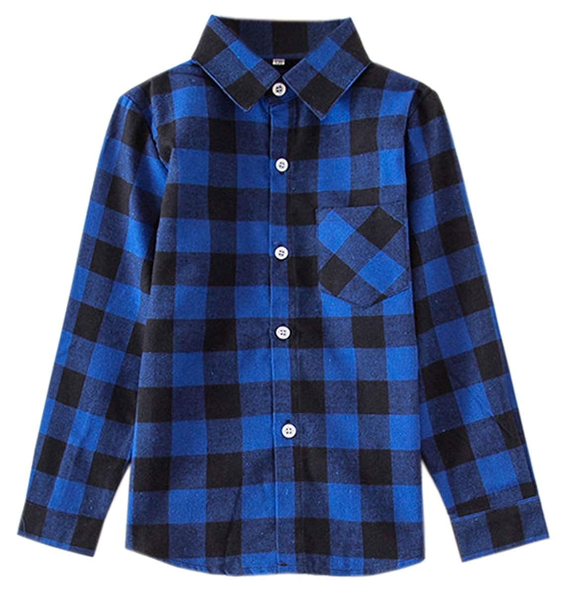 18M-12 Years SANGTREE Girls Long Sleeves Plaid Button Down Shirt