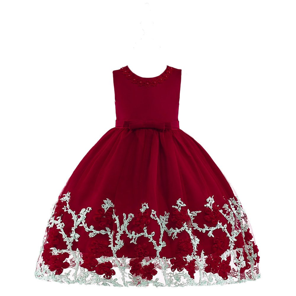 Lurryly Flower Baby Girls Princess Tutu Dress Sleeveless Formal Clothing Dresses 2-7 T