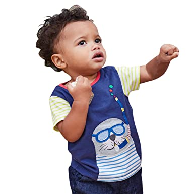 0abe72659d1a Cartoon Animal Applique Kids Tee Shirt Infant Baby Boys Girls Clothes  Outfits Short Sleeve T-