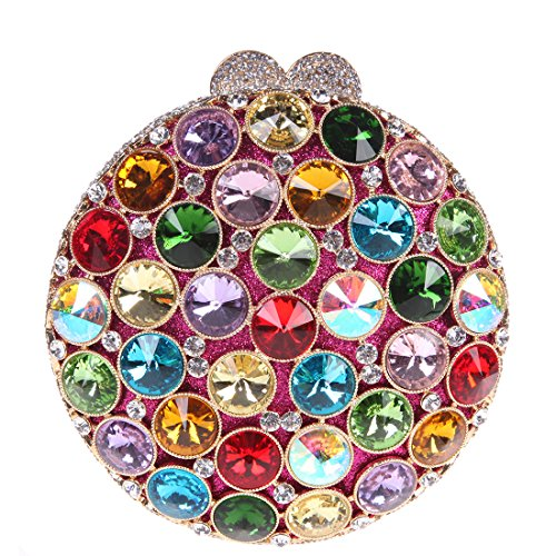 Bonjanvye Handbag Bag Multicolor Womens Crystal Clutch Multicolor for Round with Studded Rhinestone pBwgzrqp