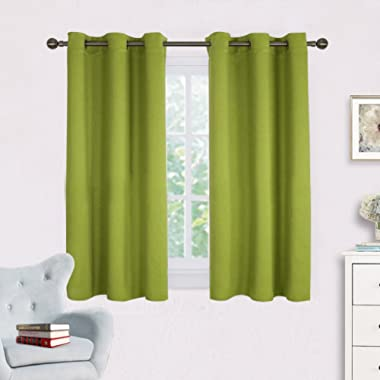 NICETOWN Blackout Curtain Panels for Living Room, Thermal Insulated Solid Grommet Top Blackout Draperies/Drapes for Window (1 Pair,42 x 45 Inch in Fresh Green)