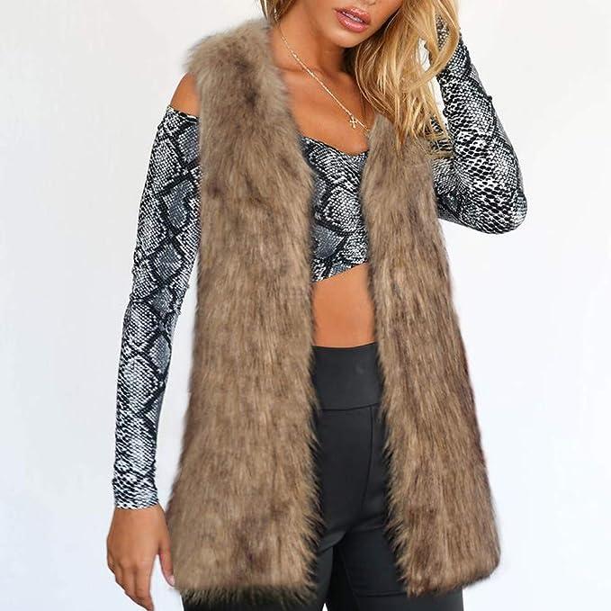 ALIKEEY Mujeres ♈ Caliente Engrosamiento Abrigo Chaqueta De Piel Sintética De Zorro Visón Abrigo Chaleco Chaqueta Outwear otoño Hombros Descubiertos ...