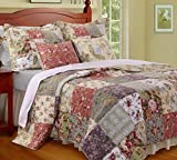 Country Cottage Floral Quilt Set with Shams Print Patchwork Pattern 3 Piece Bedding Yellow Blue Green Luxury 100 Cotton Reversible 3 Piece Bedding Double Full Queen Size - Includes Bed Sheet Straps