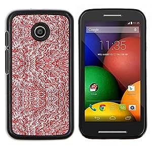 Caucho caso de Shell duro de la cubierta de accesorios de protección BY RAYDREAMMM - Motorola Moto E - Arte rama de árbol del papel pintado blanco rojo de la ramita