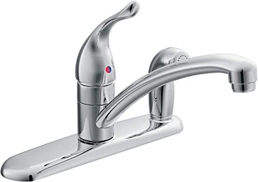 Moen 7434 Chateau One Handle Low Arc Kitchen Faucet With Side Sprayer In Deck Chrome Touch On Kitchen Sink Faucets Amazon Com