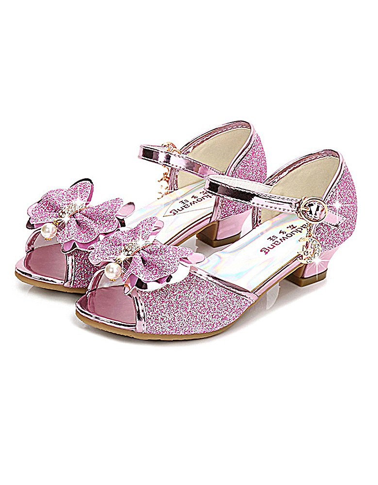 KISSOURBABY High Heel Sandals for Girls Wedding Princess Size 12 Little Girl Pink Toddler Kids Sequin Dress Rhinestone Shoes Knot (Pink 27)