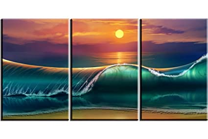 Ocean Wave Wall Art Decor For Bedroom, PIY HD Sunset Sea Picture, Oil  Painting