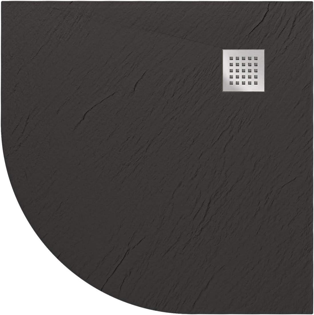Blend Bac /à Douche 90x140x2,6 CM Rectangulaire Anthracite Effet Pierre Mod