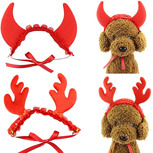 Wiz BBQT 2 Pcs Cat Dog Pet Halloween Devil Horns and Christmas Reindeer Horns Hair Head Bands Accessories in Red for Kitten Puppy Small Dogs Cats Pets]()