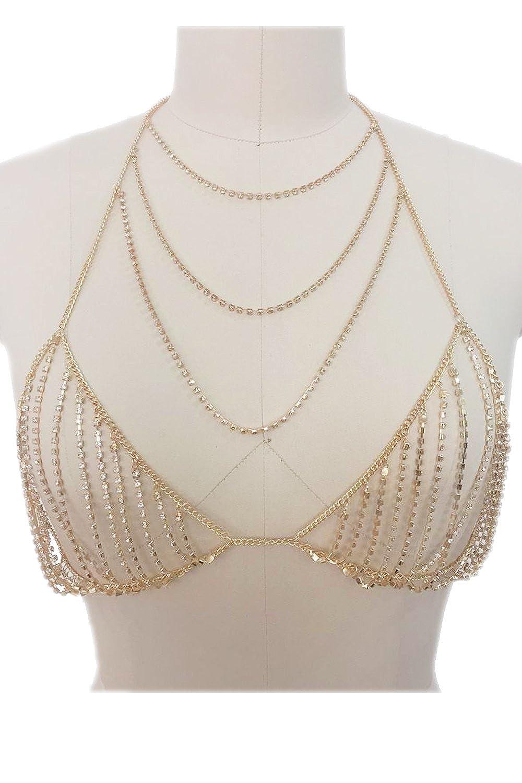 89760b69ac Amazon.com  Womens Fashion Bodyjewelry Rhinestone Layered Bra Chain N161114  (Gold)  Jewelry