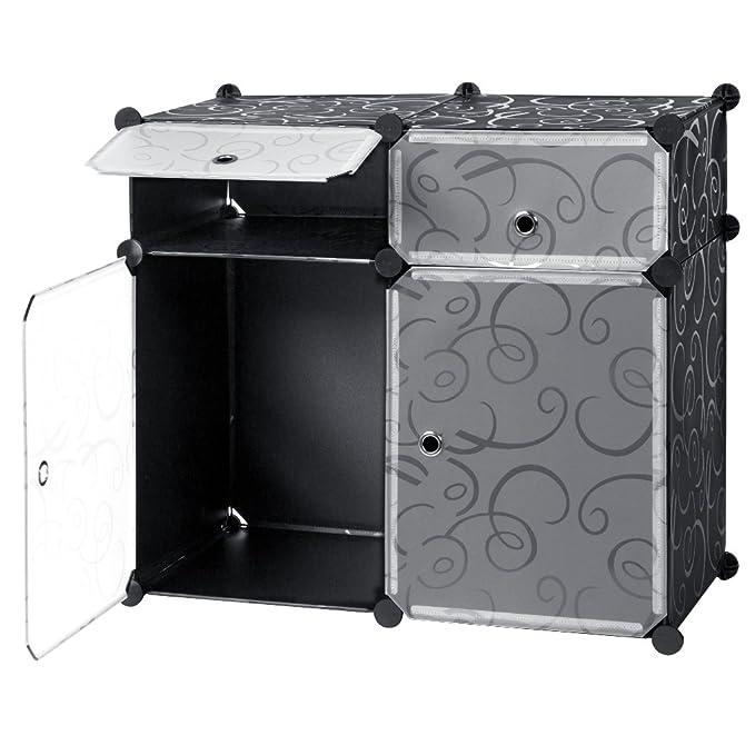 LANGRIA Estantería por módulos, Zapatero Modular DIY 4 Cubos, 2 Cubos Grandes 2 Cubos Rectangulares, Almacenamiento para Baño Aparador Habitación Salón ...