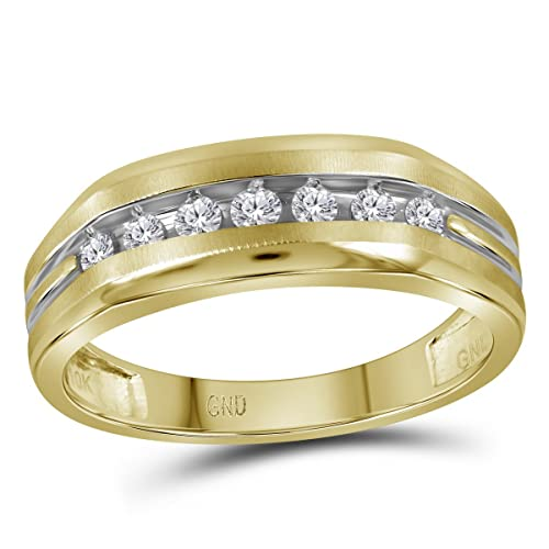 Anillo de boda de oro amarillo de 14 quilates para hombre, redondo, con diamante