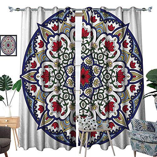 luvoluxhome Dining Room Curtains Window Treatment 2 Panels for Living Room/Bedroom Ethnic Mandala Lotus Flowers Kaleidoscopic Circular Ancient Traditional Blue Rub 96.5