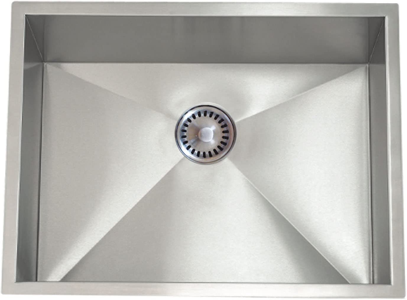 Lenova PC-SS-0Ri-S27 PermaClean 16-Gauge Stainless Steel Single Bowl Under-Mount Kitchen Sink 26-1//2 x 17-1//2-Inch