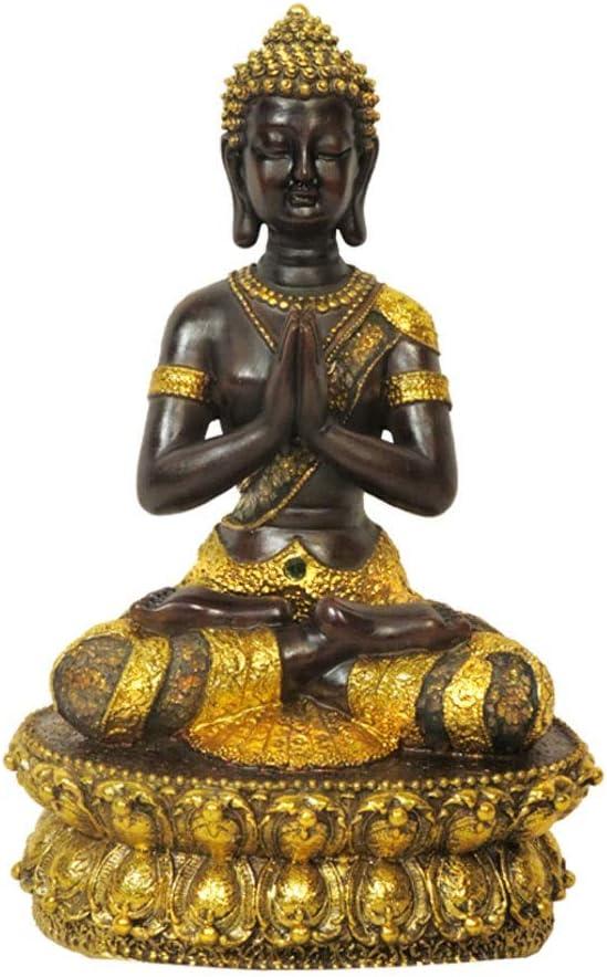 Buddha Statue Garden Ornament Silver Gold Sculpture 36cm