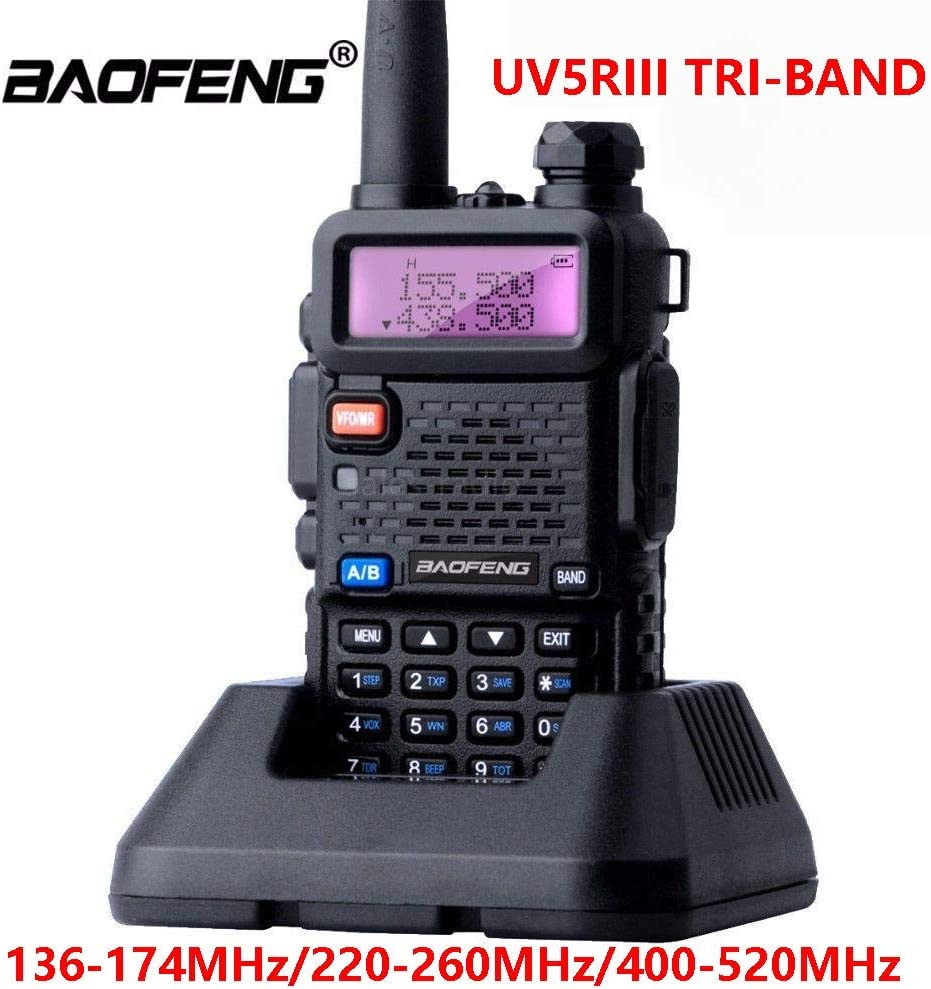 BFTECH UV-5R III Tri-Band 5W VHF,1.25M,UHF 136-174//220-260//400-520Mhz Extra 220 Antenna Portable Amateur Ham Two Way Radio