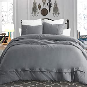 """Cysincos Duvet Cover Set with Button Closure, 2Pcs Solid Color Bedding Down Comforter Cover Ultra Soft Washed Microfiber Quilt Cover Grey Twin Size 69""""x 90"""""""