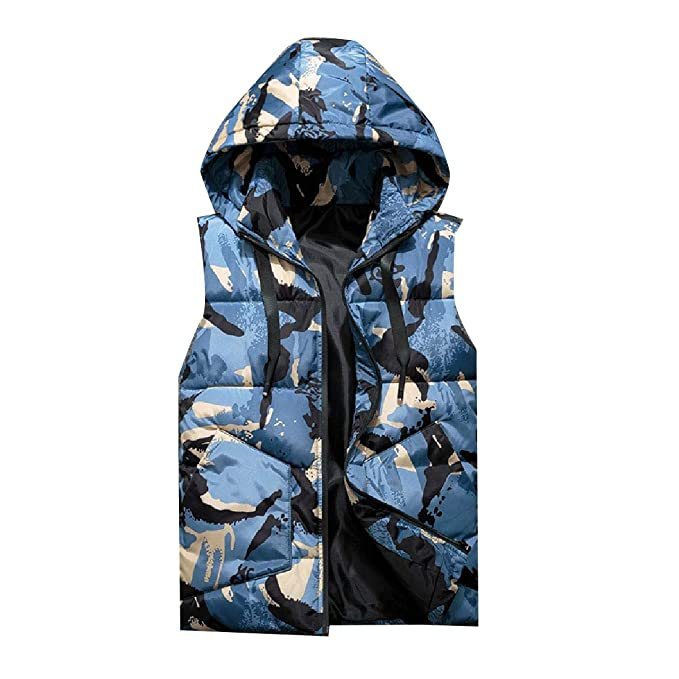 06a4e3ada6f Coolred-Men Outdoor Plus-Size Camouflage Color Hoodie Warm Puffer Vests  Blue S