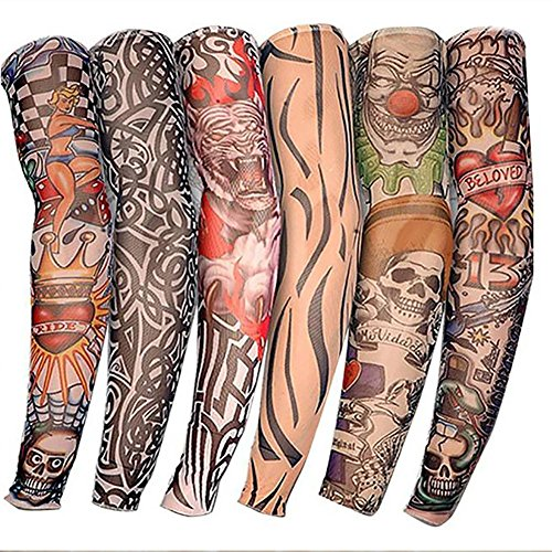 colinsa Tattoo Arm Warmers for Kids Outdoor UV Protection Arm Sleeve Stylish Elastic 6 PCS Seamless Tattoo Sleeves Arm…