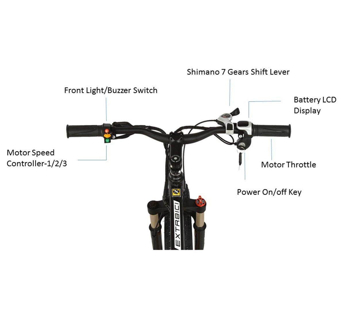 Cyrusher Extrbici XF660 48V 500 vatios Negro Amarillo Mens bicicleta eléctrica Mountain Bike 7 velocidades bicicletas eléctricas frenos de disco: Amazon.es: ...