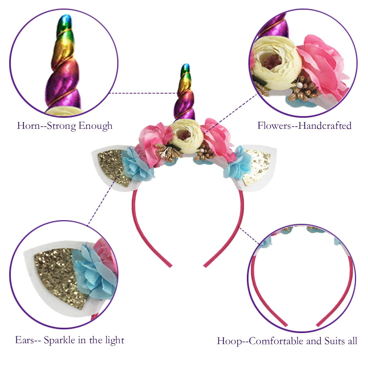 Amazon.com   Unicorn Headband Shiny Horn Ears Flower Headpiece for Girls  Adults Party Decoration Cosplay Costume Halloween Christmas Birthday Outfit  ... 674001702162