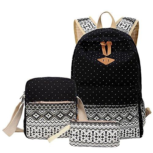 KiwiTwo 3 Set Damen-Reise-Rucksack Vintage Mädchen Schulrucksack Canvas Rucksack Teenager accessories hohe Qualität Leinwand Einfache Drucken Tasche Schultertasche Freizeitrucksack Tasche Rucksäcke Black