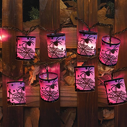 Halloween UL Glitter Glow Cylinder Lantern Light Set, Purple Lanter with Spider, 10pk -