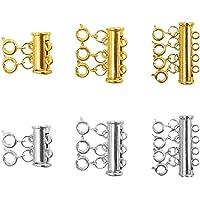 Baoblaze 3 Sizes Slide Tube Lock Necklace Spacer Clasp Multi Strands Magnetic Tube Lock Necklaces Bracelet Connectors…