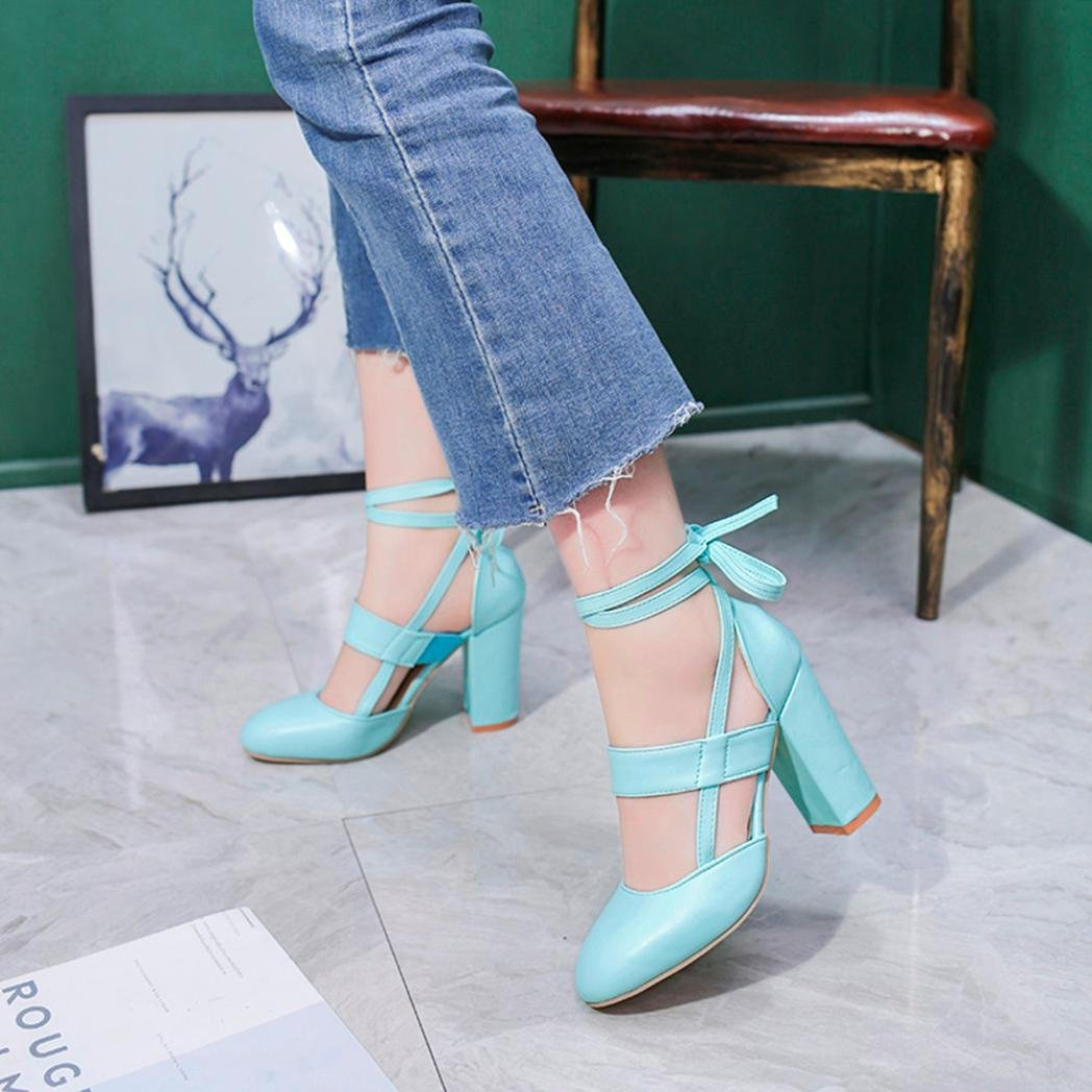 LtrottedJ Women's Fashion Heeled Sandals Ankle Strap Dress Sandals for Party Wedding (37, Blue) by LtrottedJ (Image #5)