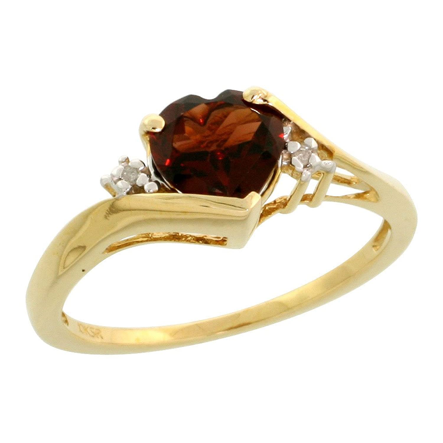 10k Gold Heart Stone Ring w/ 1.50 Total Carat Heart-shaped 7mm Garnet Stone & Brilliant Cut Diamonds, Size 8