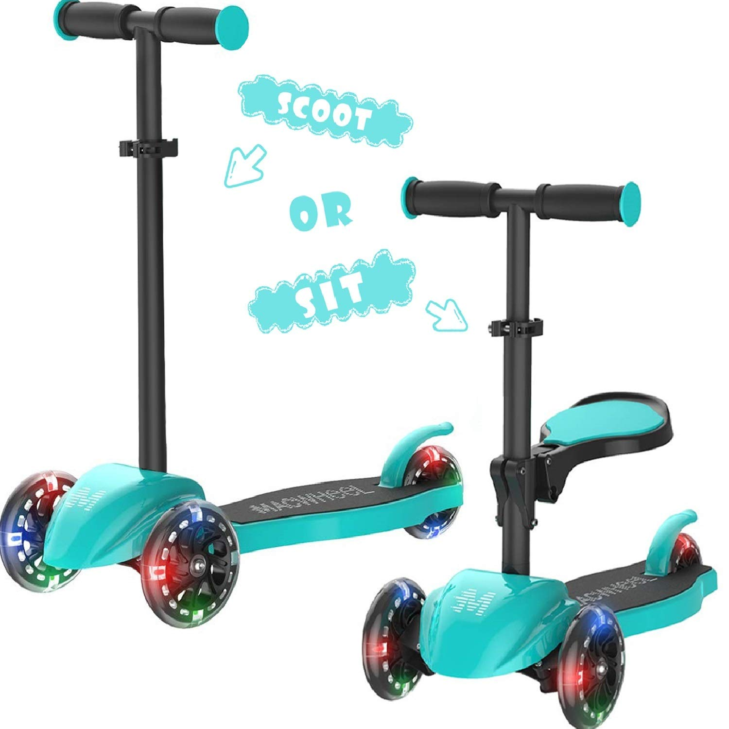 Macwheel Patinete de 3 Ruedas Scooter con Led Luces Manillar ...