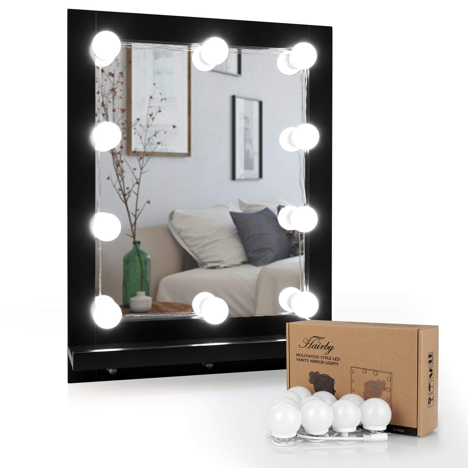 HAIRBY Hollywood Style LED Vanity Mirror Lights Kit with 10 Dimmable Bulbs, Plug in Makeup Mirror Lights with 3M Stickers Attached to Bathroom Wall or Dressing Table, 13.1ft, Mirror Not Included