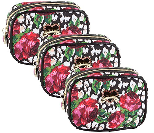 Betsey Johnson Roses Over Cheetah Cub 3 Pack Cosmetic Case Set - Multi