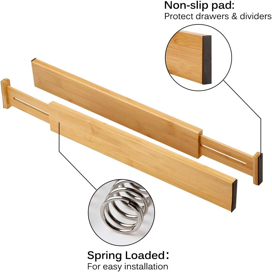 divisori per Separatori di divisori per cassetti in bamb/ù espandibili 4PCS 6PCS Winbang Organizzatori per cassetti