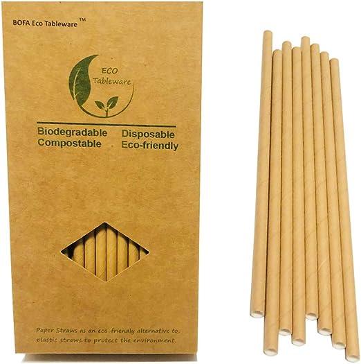Karft Pajitas de papel para beber, 100 % biodegradables, paquete ...