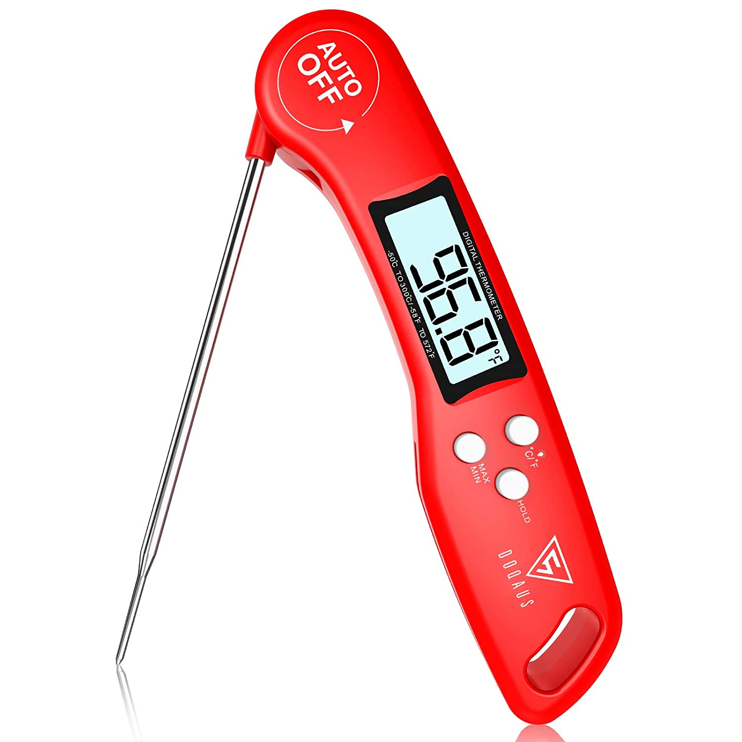 DOQAUS Digital Meat Thermometer, 3s Instant Read Food Thermometer, Cooking Thermometer with Ambidextrous Display, Backlight, Foldable & Long Probe for Grill Candy Turkey BBQ Milk Water¡­