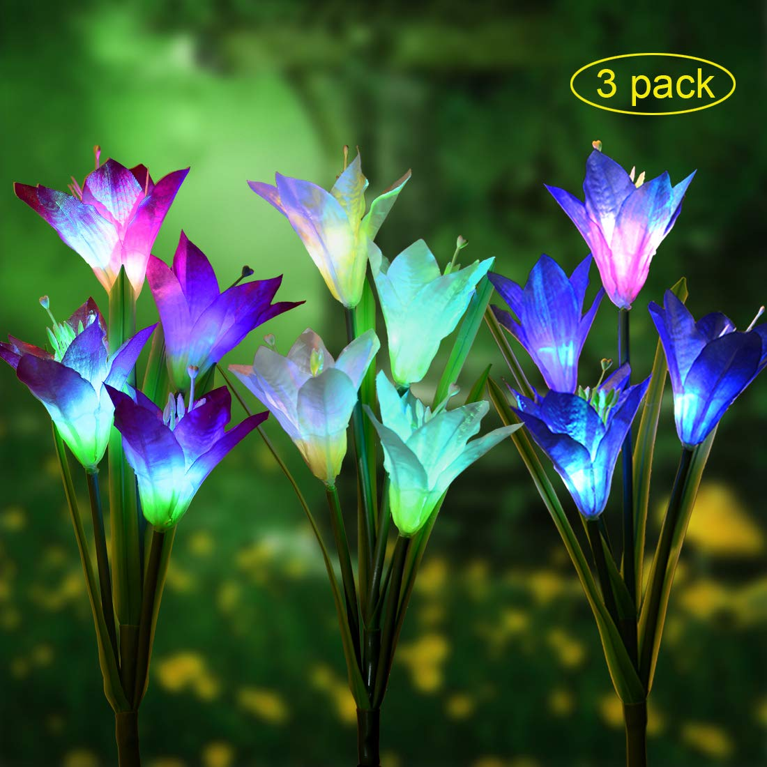 Outdoor Solar Garden Stake Lights - 3 Pack Eastred Solar Powered Lights with 12 Lily Flower, Multi-Color Changing LED Solar Stake Lights for Garden, Patio, Backyard (Bule,Purple and White)