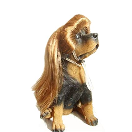 Drasawee mascota perro gato pelo sintético largo pelucas de disfraces de Fancy dorado