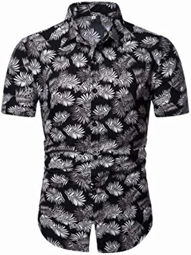qulvyushangmaobu Camisa Casual de Manga Corta Floral Hawaiana ...