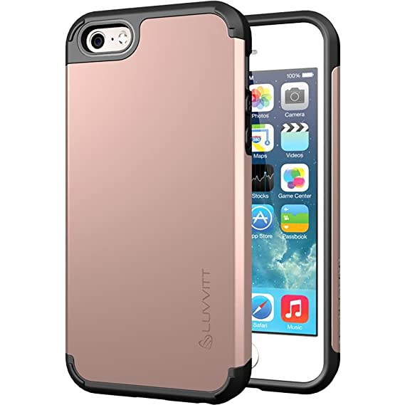 best loved 4af03 d32be iPhone SE Case, LUVVITT [Ultra Armor] Shock Absorbing Case Best Heavy Duty  Dual Layer Tough Cover for Apple iPhone SE Special Edition - Rose Gold