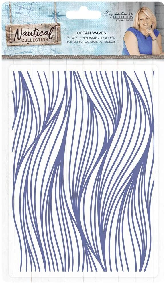 Darice embossing folders 30032585 summer nautical Waves embossing folder