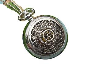 Ancient silver Ship Rudder Pocket Watch Necklace,Small Rudder watch pendant