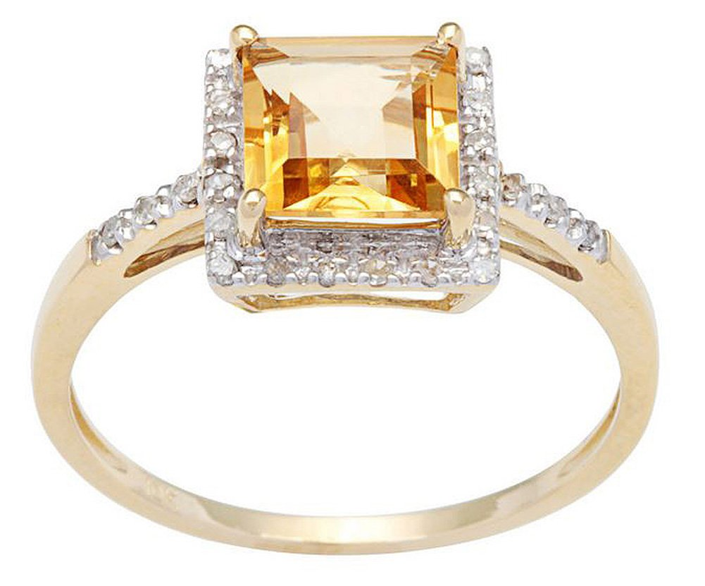 10k Yellow Gold Square Citrine and Diamond Halo Ring by Instagems