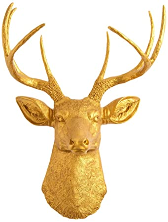 the franklin gold deer head wall decor stag head wall mount animal head - Animal Head Wall Decor