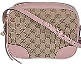 Gucci Women's Beige Pink Canvas Leather GG Guccissima Bree Crossbody Purse