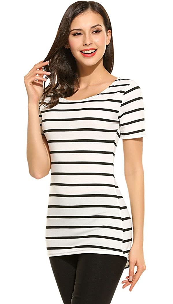 8ba3fde8beeabb Summer short sleeve slim fitted striped tee shirts tops. Black and white  stripes tee shirt