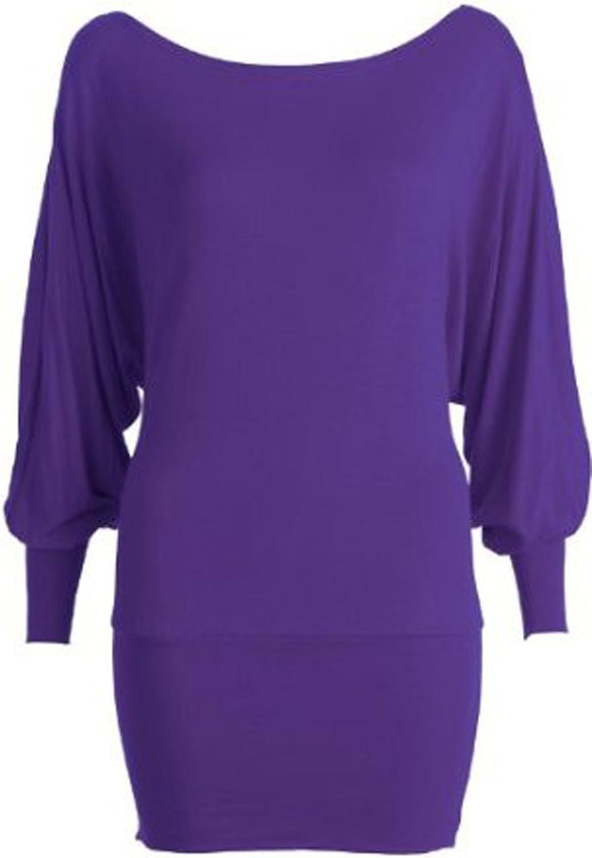 GirlsWalk Women's Long Sleeves Plus Size Plain Stretchy Batwing Top Purple
