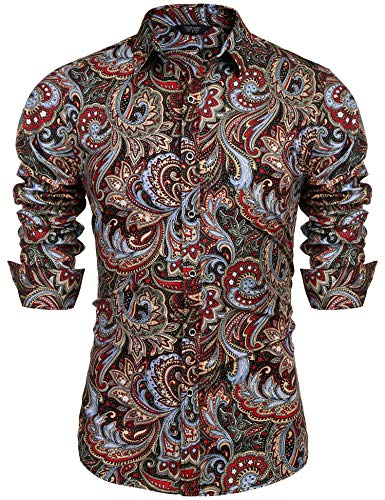 COOFANDY Men's Floral Print Button Down Casual Long Sleeve Hawaiian Retro Flower Shirt(Wine Red,XXL)