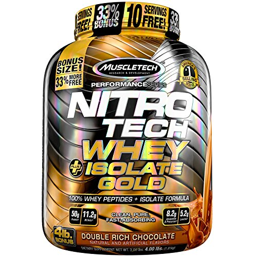 MuscleTech NitroTech Whey Plus Isolate Gold, Double Rich Chocolate, 4 Pound (Gold Whey)