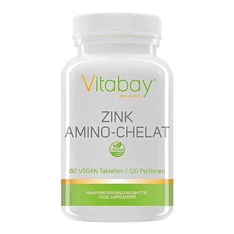 Zinc amino quelato 120 porciones con 15 mg de zinc (contenido elemental) por medio